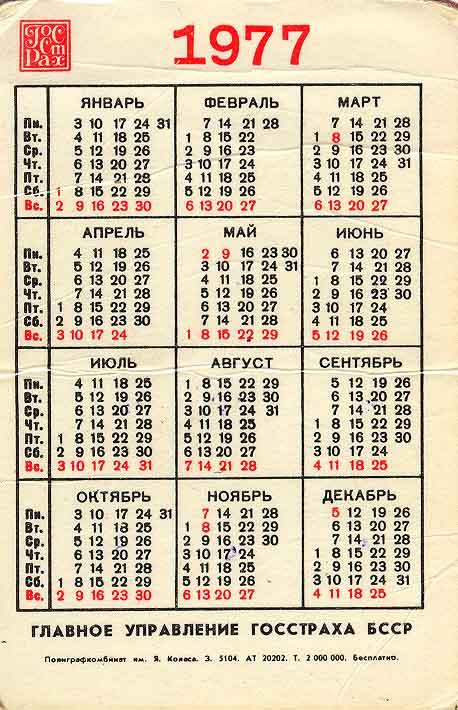 1977 год по лунному календарю